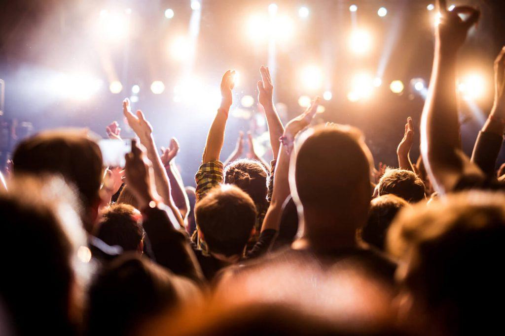 concertgoers having fun
