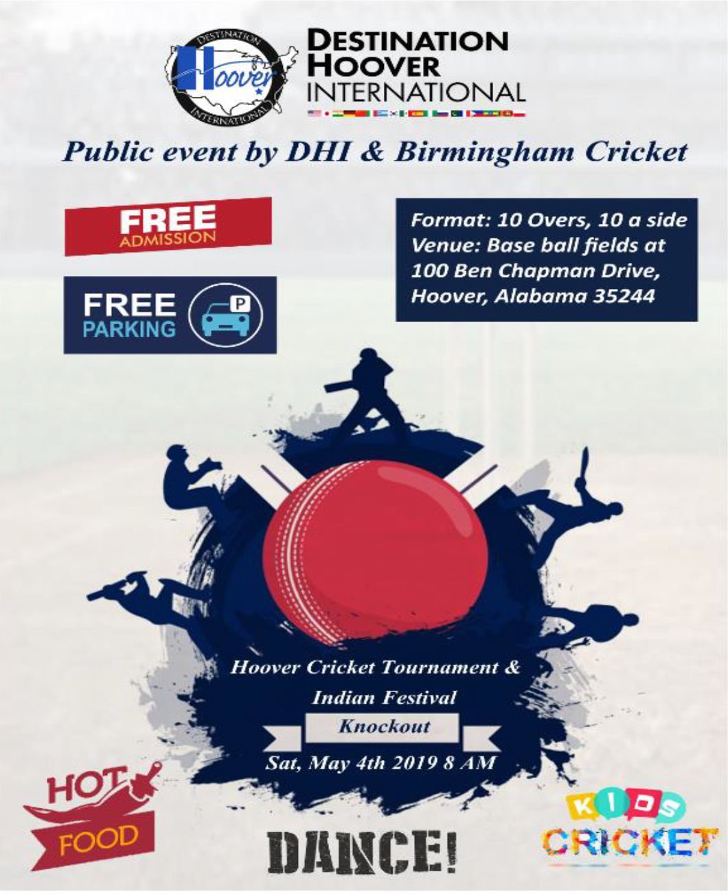 Hoover Cricket Tournament and Indian Festival Knockout Poster